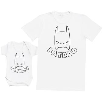 Bat Baby & Bat Dad Father Baby Gift Set Mens T Shirt & Baby Bodysuit