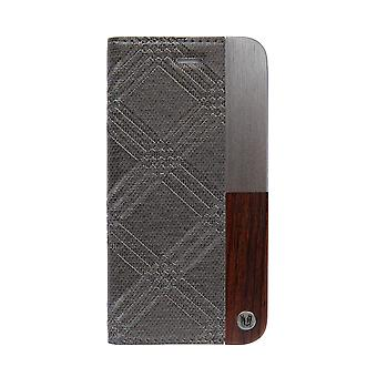 Stylish Metal & Genuine Wood Folio Grey iPhone 8 / 7 Case