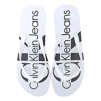 Womens Clavin Klein Jeans Tesse Jelly Sandals In White- Single Toe Post Design