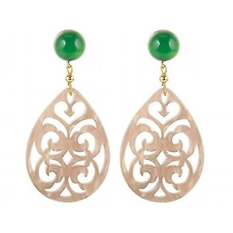 Gemshine Earrings Sea Green Chalcedone, Tortoiseplate Drop 925 Silver Plated