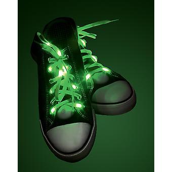 Verlicht veters groen groen, gemaakt van polyester, op batterijen.