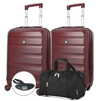 Aerolite (55x35x20cm) lightweight cabin luggage set - with 5 cities black holdall and luggage scale
