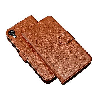 Fashion Brown Cowhide Genuine Leather Wallet For iPhone XR Case