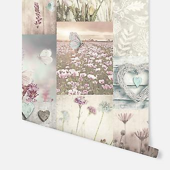 674200 - Tranquil Dreams Collage Teal/Pink - Arthouse Fond d'écran
