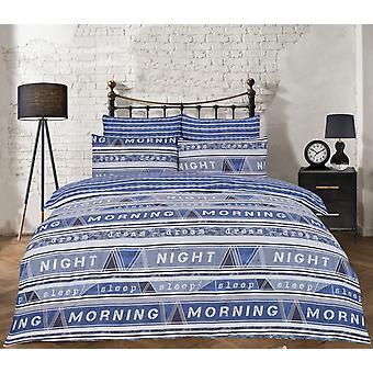 Geo Text Blue Bedding Set