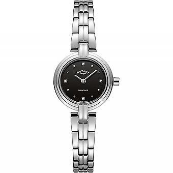 Rotary LB00410-15 Women's Black Dial Diamond Set Wristwatch