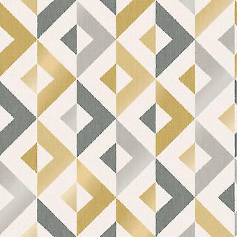Scandi Geo Wallpaper Mustard Yellow Crown M1531