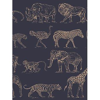 Boutique Safari Dieren Wallpaper Navy Blue / Rose Gold Graham & Brown