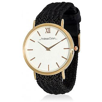 Watch Andreas Osten AO-215 - Black Fabric Watch Bo tier Dor Rose Mixed