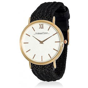 Watch Andreas Osten AO-215 - Black Fabric Watch Bo tier Dor Rose Mixed