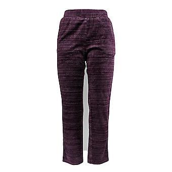 Denim & Co. Women's Petite Pants Space Dye Velour Straight Purple A346343