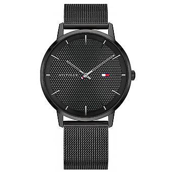 Tommy Hilfiger relógio 1791701 - preto preto íon íon caso dial preto aço malha pulseira Milanese homens negros