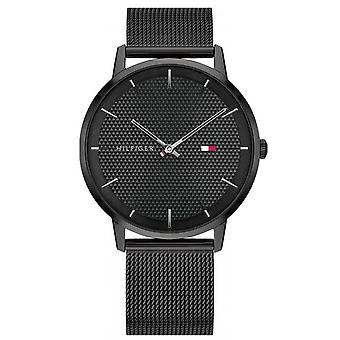 Tommy Hilfiger watch 1791701 - black black ion ion case dial black steel mesh bracelet Milanese black men