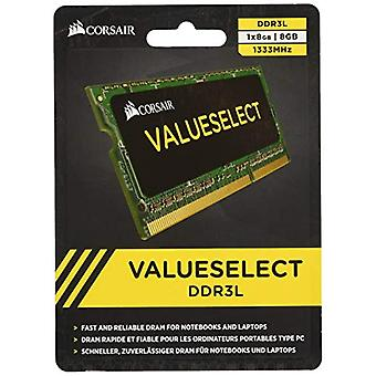 Corsair CMSO8GX3M11333C9 Value Select 8 GB geheugenmodule, DDR3L, 1333 MHz, CL9, SODIMM, Zwart