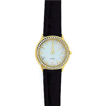 Womens Sterling Silver, Goldtone, Crystal Black Leather Strap Watch GOTW97