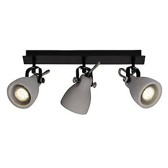 BRILLIANT Lamp Thanos Spot Beam 3flg black matt/cement grey | 3x PAR51, GU10, 20W, suitable for reflector lamps (not included) | Scale A++ to E | Heads swivelling