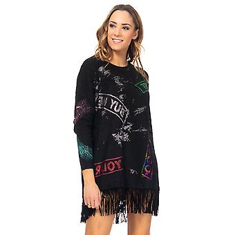 Knitted dress with Prints and Fringes