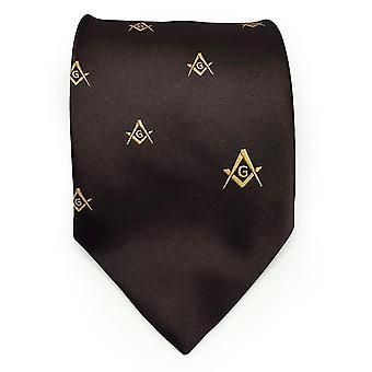 Frimurer regalia håndverket murere silke slips brodert firkantet kompass & g brun