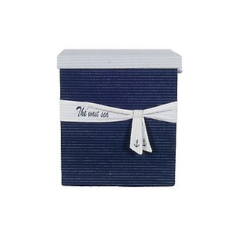 """13.5"""" x 17"""" x 22.5"""" Blue Fabric Basket With Bow  Decoration Set of 5"""