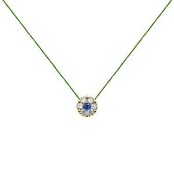 Ketting Duchess Full Diamond op Sapphire en 18K Gold, On Thread - Geel Goud, NeonGreen