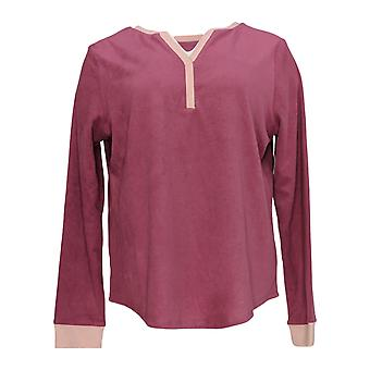 Cuddl Duds Women's Pajama Top Grid Fleece Split Neck Purple A369288