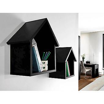 Maison Color Schwarzes Regal in Melaminischem Chip 42x22x45 cm - 30x22x35 cm