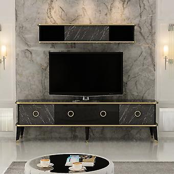 Mobile TV Tür Bien Farbe Schwarz, Gold in Melaminic Chip 180x35x50 cm, 150x22x26 cm