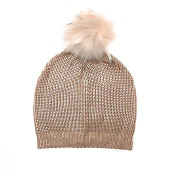 Accessories Brave Soul Metallic Beanie With Faux Fur Pom Pom in Pink