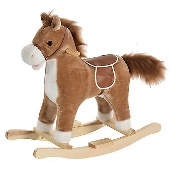 HOMCOM Kids Plush Rocking Horse w/ Sound Moving Mouth Wagging Tail Children Rocker Ride On Toy Gift 36 - 72 Months Brown