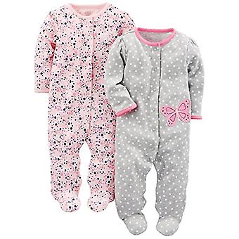 Simple Joys by Carter's Baby Girls' 2-Pack Cotton Footed Sleep and Play, Gray...