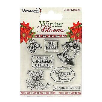Dovecraft Vinter Blomstrer Klare Frimerker Holly og Bjeller