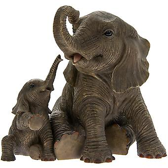 Elephant Playtime with Mother and Baby By Leonardo