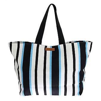 Dolce & Gabbana Blue White Striped Cotton Shopping Tote VAS1262