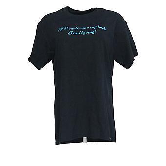 Gildan Women's Top Crewneck Printed Cotton T-Shirt Black