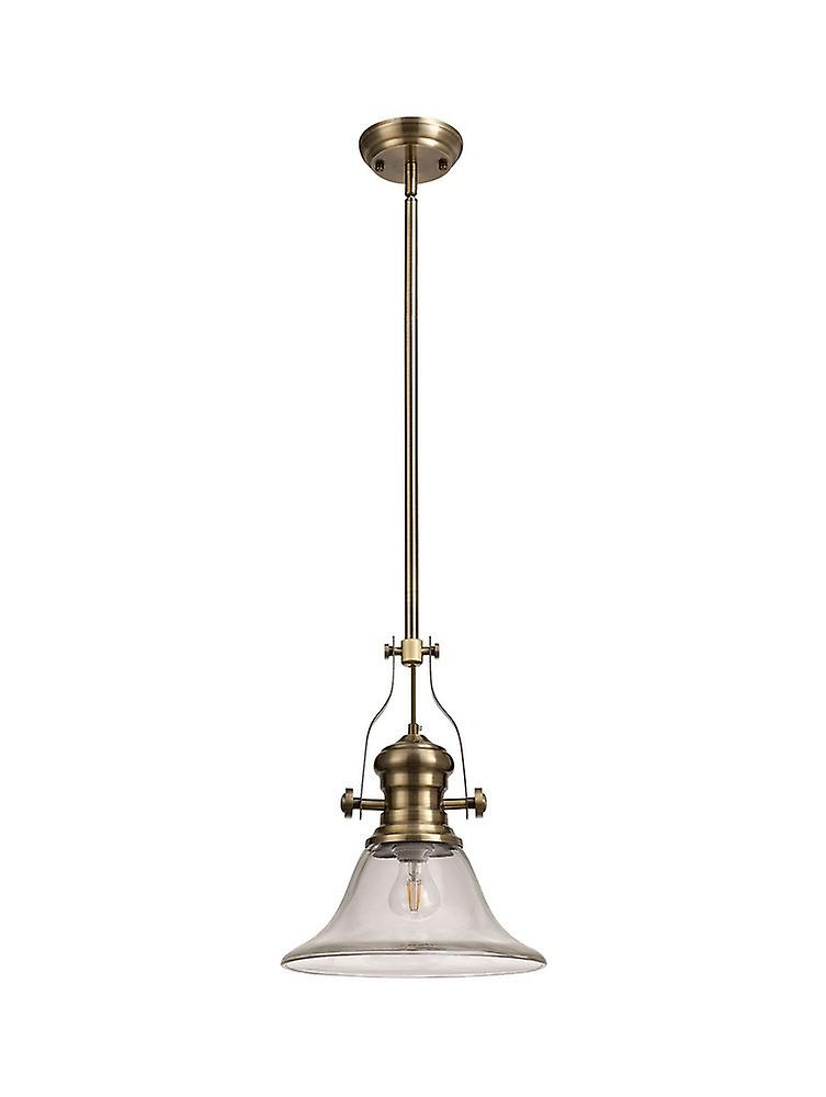 Luminosa Lighting - Telescopic Dome Ceiling Pendant E27 With 30cm Smooth Bell Glass Shade, Antique Brass, Clear
