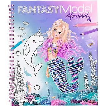 Fantasy Model Colouring Book With Reversible Sequins Mermaid