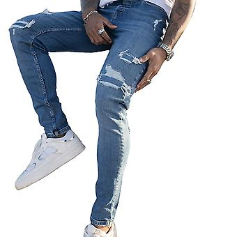 Nimes Mens Ripped Skinny Jeans - Mid Blue