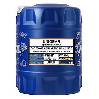 Mannol 20L Huile d'engrenage synthétique Unigear 75W-80 API GL4/GL5 Ford WSD-M2C200-C
