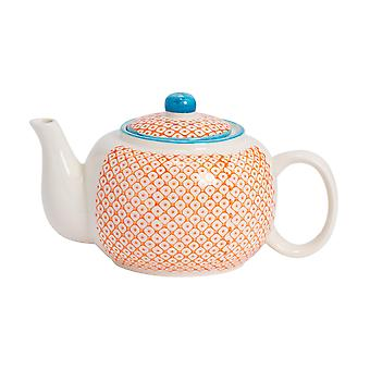 Nicola Spring Käsin painettu teekannu - japanilaistyylinen posliininen teekannu kannella - oranssi - 820ml