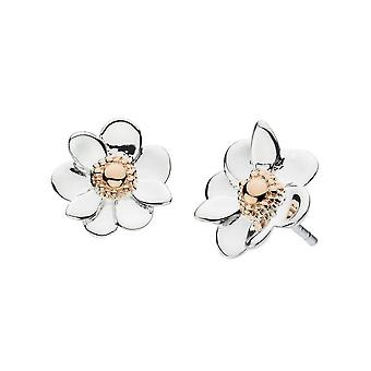 Dew Silver Anemone Flower With Rose Gold Plate Stud Earrings 4084RG024