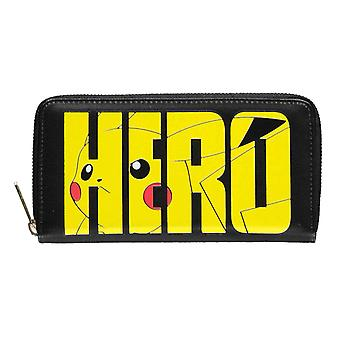 Pokemon Purse Olympics Pikachu Hero Logo new Official Black Zip Around
