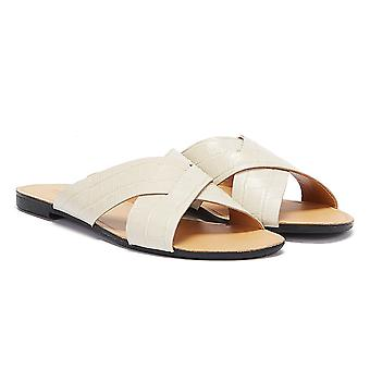 Vagabond Tia Crossover Embossed Leather Womens White Sandals