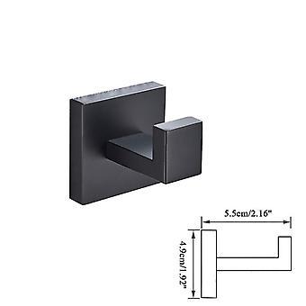 Badeværelse Hardware Set-Black Robe Hook Håndklæde Rail Rack Bar Hylde- Silkepapir / Tandbørste Holder BadeværelseStilbehør