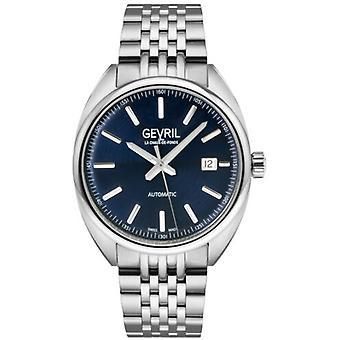 Gevril Men's 48701 Five Points Swiss Automatic Blue Dial Steel Date Polshorloge