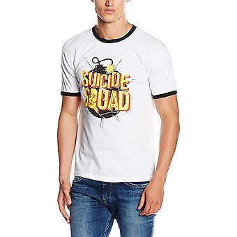 Suicide Squad Unisex Adults Exploding Bomb Design Ringer T-shirt
