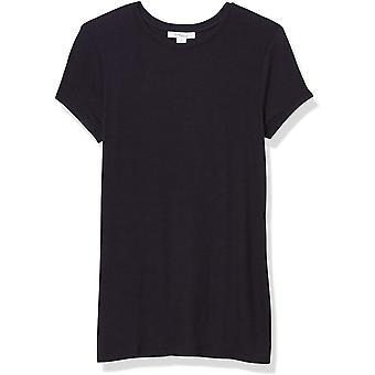 الطقوس اليومية المرأة & apos;ق مضلع قصيرة الأكمام طاقم الرقبة قميص, أسود, متوسطة