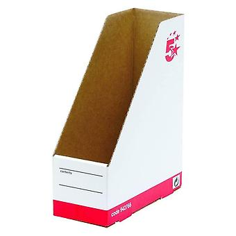 5 Star Office Magazine File Quick-assemble A4 Plus Red & White - Balení po 10