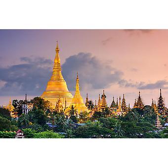 Mural de pared Pagoda Shwedagon en Myanmar