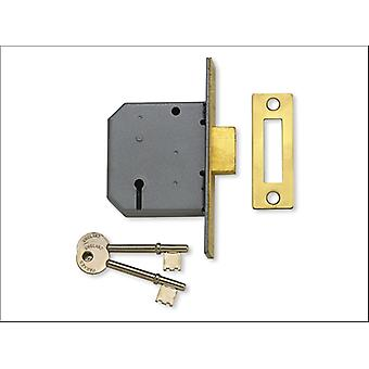 Yale 3 Lever Mortice Double Lock 2.5in Polished brass P-M322-PB-65