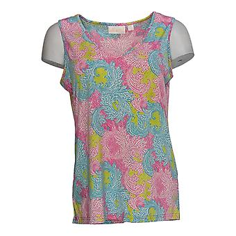 Belle by Kim Gravel Women's Top Cool Airy Printed Tank Pink A373653